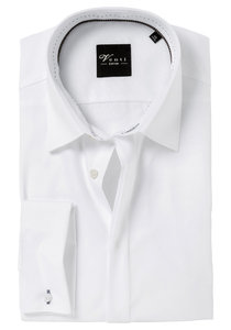 Venti Modern Fit overhemd, mouwlengte 72, dubbele manchet, wit