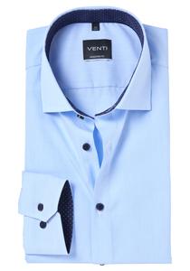 Venti Modern Fit overhemd, blauw gestreept (contrast)