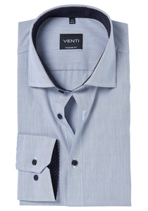 Venti Modern Fit overhemd, zwart gestreept (contrast)