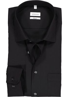 Seidensticker Regular Fit overhemd, zwart