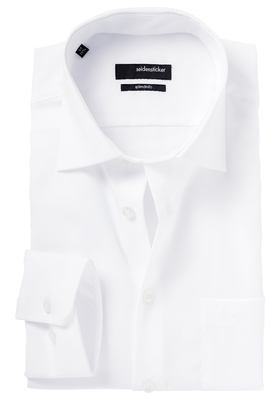 Seidensticker Modern Fit overhemd, mouwlengte 7, wit