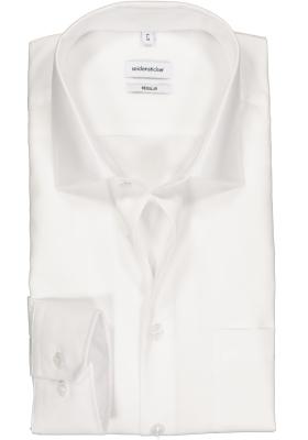 Seidensticker regular fit overhemd, mouwlengte 7, wit