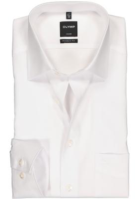 OLYMP Luxor modern fit overhemd, mouwlengte 7, wit