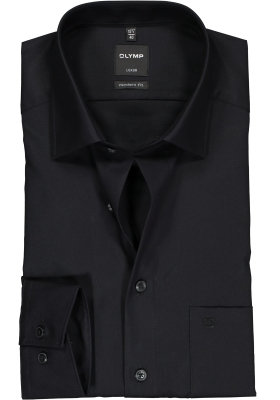 OLYMP Luxor modern fit overhemd, zwart