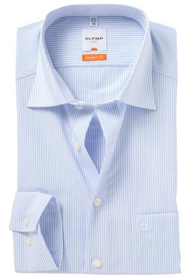OLYMP Modern Fit overhemd, licht blauw gestreept