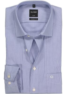 OLYMP Luxor modern fit overhemd, blauw met wit heel fijn gestreept