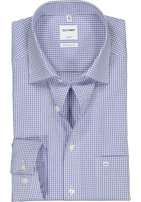 OLYMP Luxor comfort fit overhemd, blauw met wit geruit