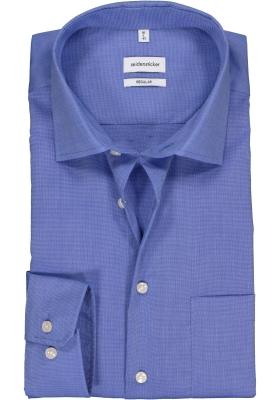 Seidensticker regular fit overhemd, blauw fil a fil
