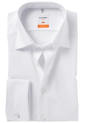 OLYMP Modern Fit overhemd dubbele manchet, wit