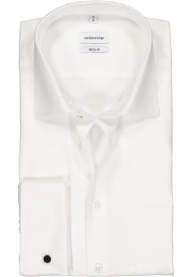 Seidensticker regular fit overhemd, dubbele manchet, wit