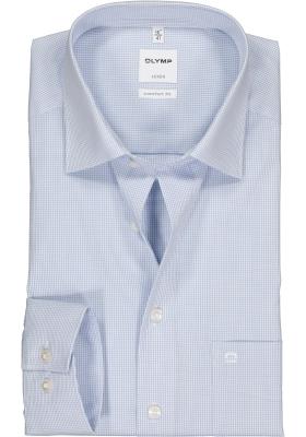 OLYMP Luxor comfort fit overhemd, lichtblauw met wit geruit