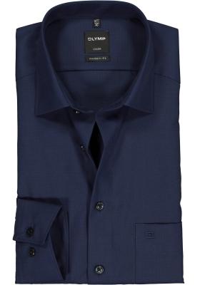 OLYMP Luxor modern fit overhemd, nachtblauw fil a fil
