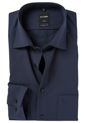 OLYMP Modern Fit overhemd, nacht blauw (Fil a Fil)