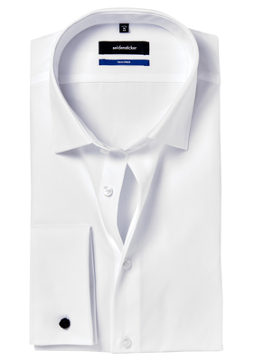 Seidensticker Tailored Fit, dubbele manchet, wit
