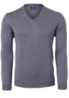 OLYMP modern fit trui wol, V-hals, grijs