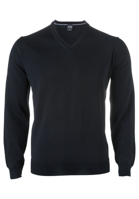 OLYMP modern fit trui wol, V-hals, zwart