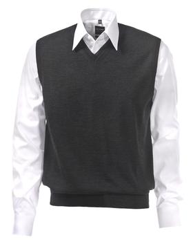 OLYMP modern fit spencer wol, V-hals, antraciet grijs