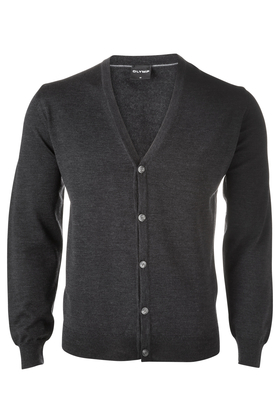 OLYMP modern fit vest wol, antraciet grijs