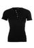 SCHIESSER Retro Rib T-shirt, O-hals met knoopsluiting, zwart