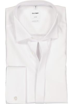 OLYMP Luxor Comfort Fit overhemd, Smoking overhemd, wit, gladde stof (wing)