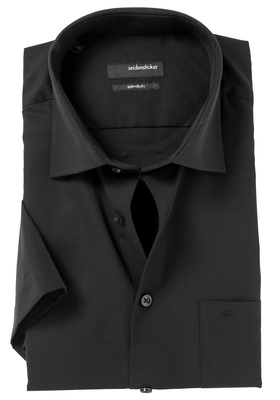 Seidensticker Modern Fit overhemd korte mouw, zwart
