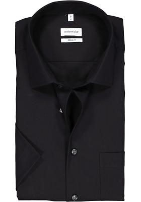 Seidensticker Regular Fit overhemd korte mouw, zwart