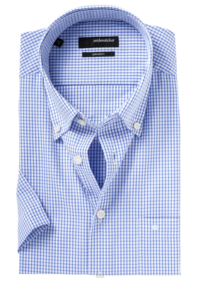 Seidensticker Modern Fit overhemd korte mouw, blauw ruit