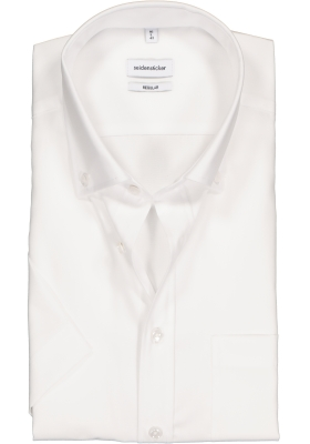 Seidensticker regular fit overhemd, korte mouw met button-down kraag, wit