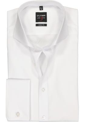 OLYMP Level 5 body fit overhemd, dubbele manchet, wit