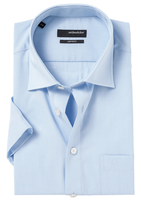 Seidensticker Modern Fit overhemd korte mouw, blauw (fil à fil)
