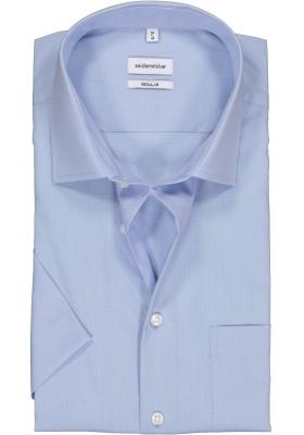 Seidensticker regular fit overhemd, korte mouw, blauw fil à fil