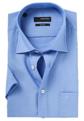 Seidensticker Modern Fit overhemd korte mouw, blauw (fil a fil)