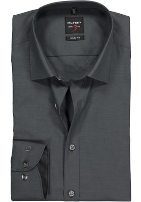 OLYMP Level 5 body fit overhemd, antraciet grijs