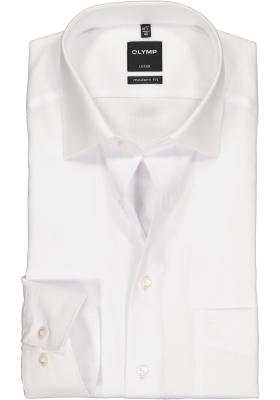 OLYMP Luxor modern fit overhemd, wit natté