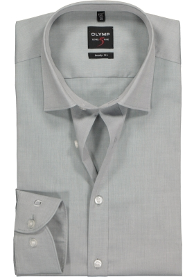 OLYMP Level 5 body fit overhemd, grijs