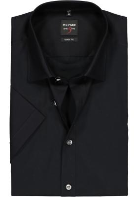 OLYMP Level 5 body fit overhemd, korte mouwen, zwart