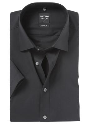 OLYMP Level 5 overhemd korte mouwen, zwart