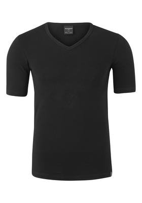 SCHIESSER 95/5 heren T-shirt (1-pack), V-hals, zwart
