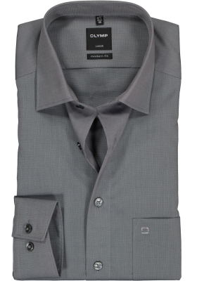 OLYMP Luxor modern fit overhemd, mouwlengte 7, grijs fil a fil