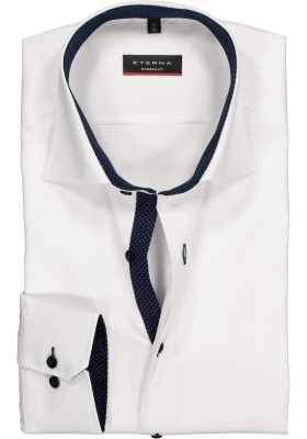 ETERNA modern fit overhemd, fijn Oxford heren overhemd, wit (blauw gestipt contrast)