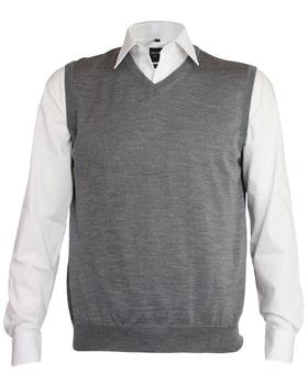OLYMP modern fit spencer wol, V-hals, grijs