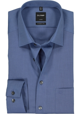 OLYMP Luxor modern fit overhemd, rook blauw