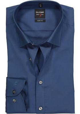 OLYMP Level 5 body fit overhemd, rook blauw