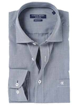 Casa Moda Comfort Fit overhemd, mouwlengte 7, zwart ruit