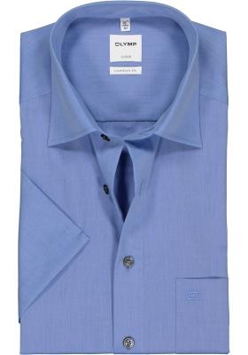 OLYMP Luxor comfort fit overhemd, korte mouw, midden blauw
