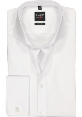 OLYMP Level 5 body fit overhemd, mouwlengte 7, dubbele manchet, wit