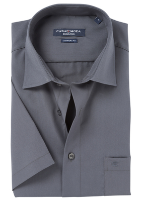 Casa Moda Comfort Fit, overhemd korte mouw, donker grijs