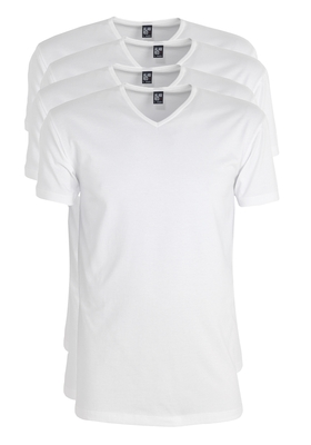 Actie 4-pack: Alan Red stretch T-shirts Oklahoma, V-hals, wit