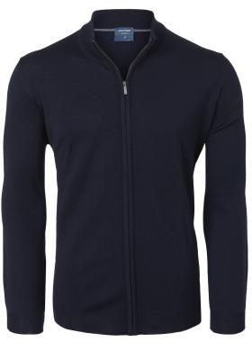 OLYMP modern fit vest wol, marine blauw met rits