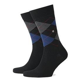 Burlington herensokken wol (Edinburgh), zwart / blauw